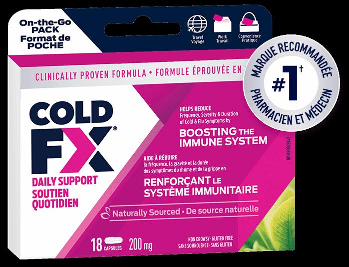 Cold-FX Daily Support / Soutien Quotidien, 18 capsules, marque recommandée pharmacien et médecin #1