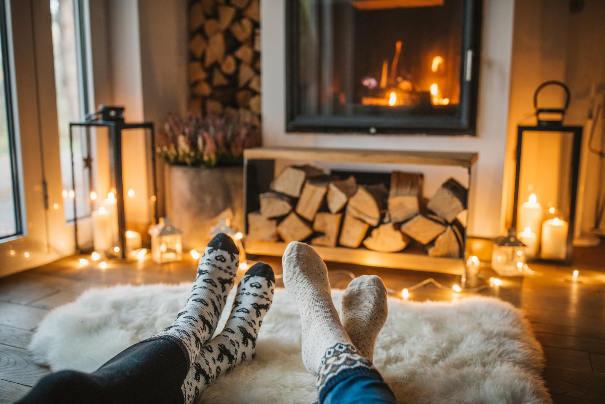 relaxing in front of a fireplace