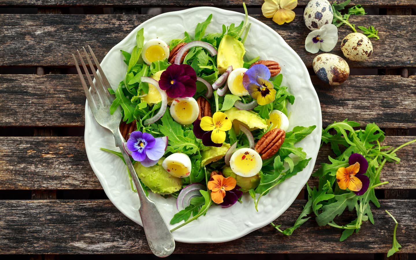 plate of salad and flowers